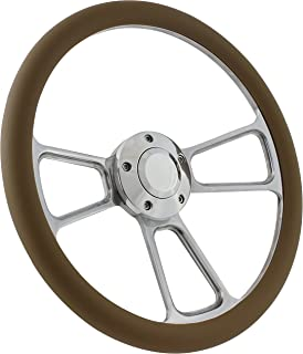 5-bolt Steering Wheel 14 Inch Aluminum with Tan Wrap and Horn