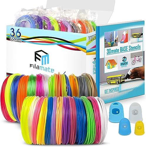 Filamate 3D Pen Filament - 36 Different Colors of 1.75mm PLA Plastic - 3D Pen Refills with Stencils - 360 Feet of Ass...