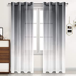 DWCN Grey Faux Linen Ombre Sheer Curtains - Gradient Semi Voile Drapes Grommet Top Window Curtains for Bedroom and Living ...