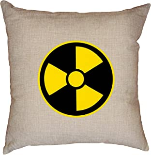 Hollywood Thread Nuclear - Radioactive Warning! Atomic Symbol - Cool Decorative Linen Throw Cushion Pillow Case with Insert