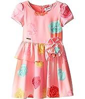 Moschino Kids - Short Sleeve All Over Print Fit & Flare Dress (Little Kids/Big Kids)