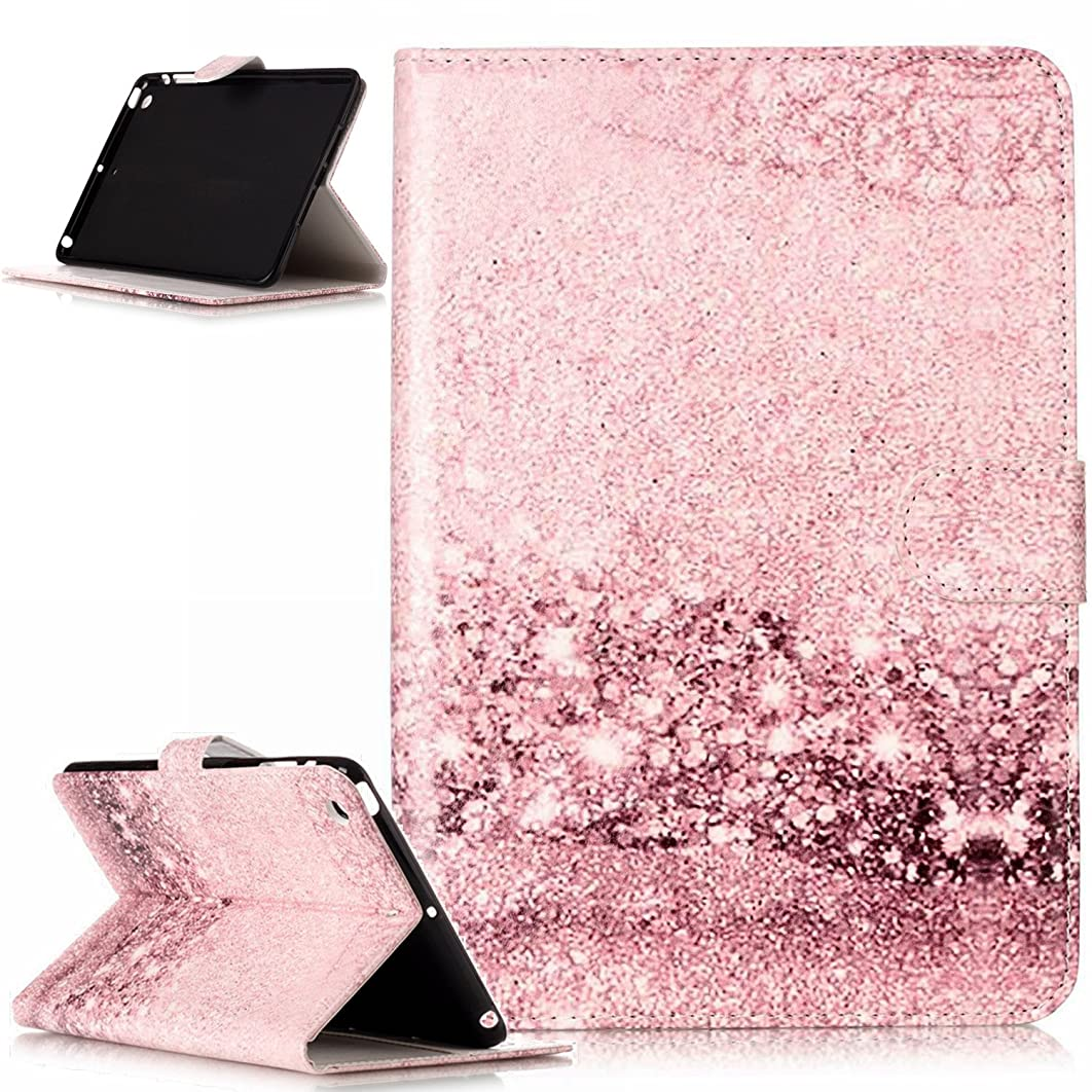 iPad mini Case,iPad mini 1 2 3 Case,ikasus Painted Marble PU Leather Fold Wallet Pouch Case Wallet Flip Cover Card Slots Stand Protective Case Cover for iPad mini 1/2 / 3,Rose Gold Marble