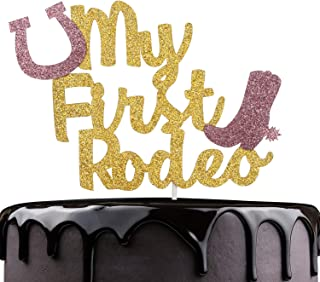 My First Rodeo Birthday Cake Topper - Gold Glitter Boots Rodeo Cake Décor - Baby Shower Boys 1st Birthday Western Farm Wild One Party Decoration