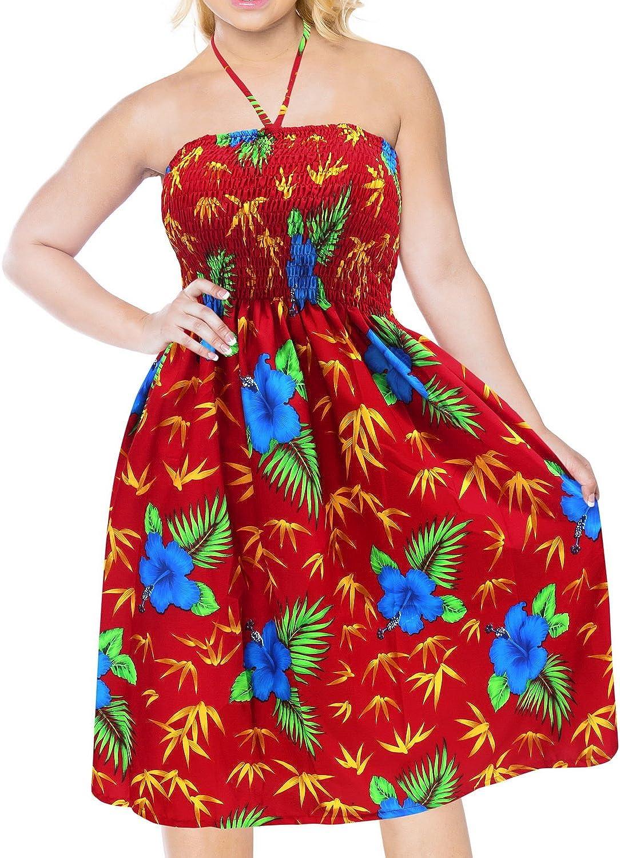 LA LEELA Women's Cool Classic Hibiscus Flower Elastic Tube Top Strappy Sundress