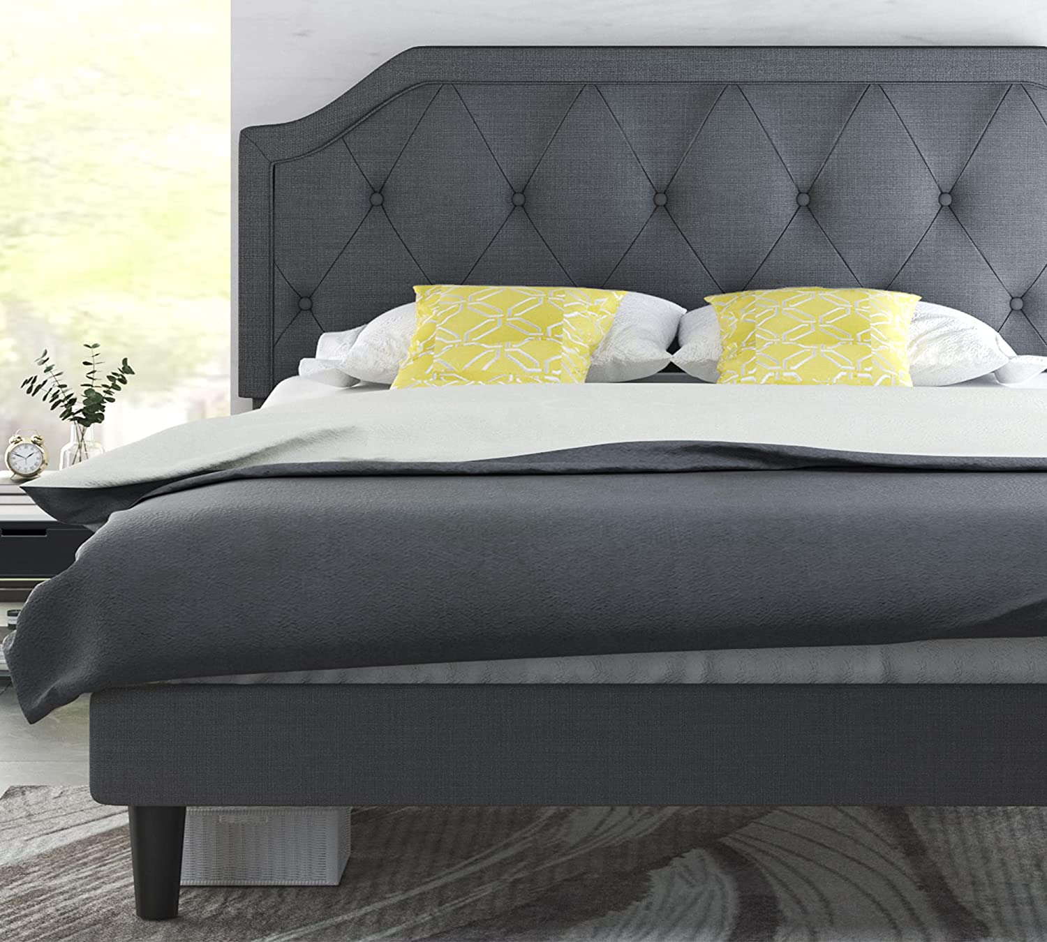Allewie Queen Bed Frame with Button Up 希望者のみラッピング無料 ※アウトレット品 Headboard Tufted Diamond