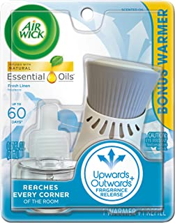 Air Wick plug in Scented Oil Kit (Warmer + 1 Refill), Fresh Linen, Same familiar smell of fresh laundry, New look, Packagi...