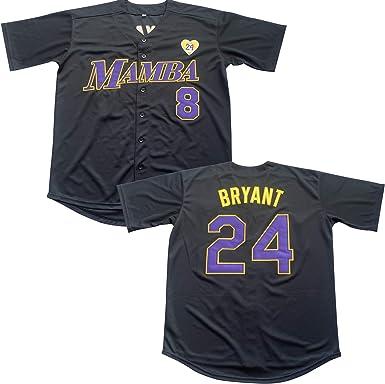 Men's 8 Legend 24 Bryant Button Down Jersey Hipster Hip Hop Baseball Jersey Stitched