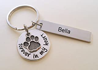 Custom Forever in My Heart Disc & Paw Charm Keychain, Pet Loss Gift, With Custom Engraved Tag, Dog Memorial Keychain