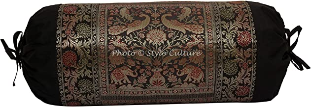 Stylo Culture Indian Polydupion Cylindrical Yoga Bolster Pillow Cover Black Jacquard Brocade Border Elephant Large Sofa Ro...