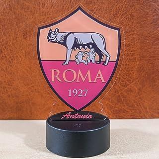 Lampada led multicolore scudetto Roma calcio personalizzabile con nome o frase