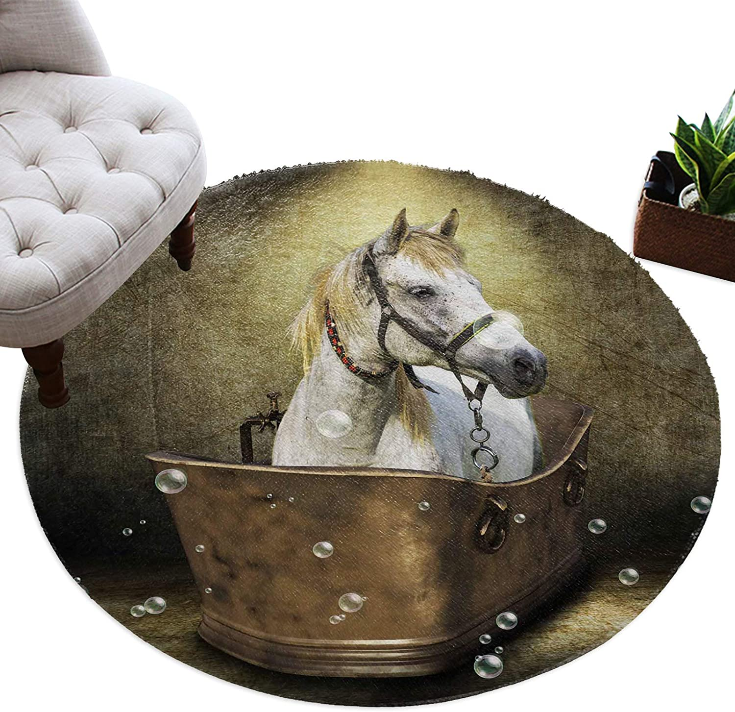 Plush Round Area Rug for Bedroom Max 45% OFF White Carpet Nursery Dorm Horse OFFicial