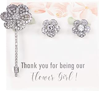 Flower Girl Thank you Gift | Flower Girl Barrette | Flower Girl Earrings | Flower Girl Jewelry | Flower Girl Proposal | Fl...
