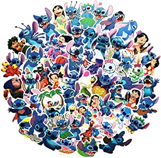55pcs Lilo & Stitch Cartoon Anime Stickers Laptop Computer Bedroom Wardrobe Car Skateboard Motorcycle Bicycle Mobile Phone Luggage Guitar DIY Decal (Lilo & Stitch 50)
