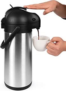 Best Cresimo 101 Oz (3L) Airpot Thermal Coffee Carafe and Coffee Server/Lever Action/Stainless Steel Insulated Flask / 12 Hour Heat Retention / 24 Hour Cold Retention (Airpot) Review
