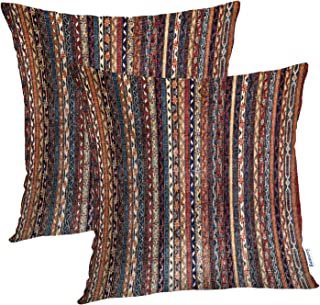 Batmerry Turkish Pillow Covers 18x18 Inch Set of 2, Vintage Persian Oriental Turkish Carpet Pattern Double Sided Square Pillow Cases Pillowcase Sofa Cushion
