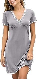 قمصان ليلية للنساء قمصان نوم مثيرة من إكوير، قمصان نوم مثيرة من الدانتيل، برقبة على شكل حرف V، أكمام قصيرة، ملابس نوم ليلي...