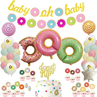 Donut Party Supplies Kit - Donut Party Decorations with Donut Banner,Donut Mylar Balloons,Pastel Balloons,Donut Cupcake Toppers for Girls,Kids,Donut Themed Party,Baby Show,Kids Birthday Party