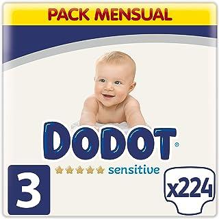 Dodot Sensitive pañales talla 3, 224 pañales, 6-10 kg