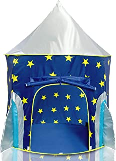 USA Toyz Rocket Ship Play Tent for Kids, Indoor Pop Up Playhouse Tent for Boys and Girls with Included Space Projector Toy and Storage Carry Bag