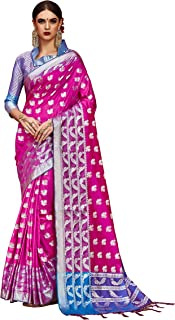6bff9235e151ed Trendzvila Womens latest Kanjivaram Silk Pink Color Saree With Blouse  (TRV_29479)