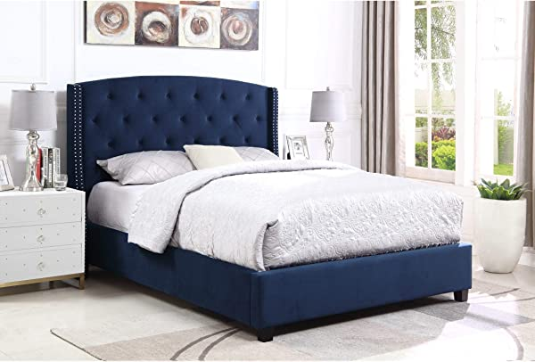 Overstock Summit Wingback Tufted Upholstered Bed With Nailhead King