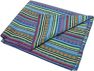 LGHome Mexican Blanket 60x72inch Woven Cotton Yoga Bright Serape Beach Throw Bedding