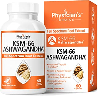 KSM-66 Ashwagandha Root Powder Extract, High Potency 5% Withanolides, 1000mg of Clinically Studied KSM66 & Black Pepper, A...