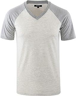 Mens Casual Vintage Short Raglan Sleeve V-Neck Baseball Active T Shirt