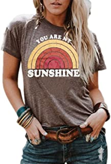 TWOTWOWIN Women's You are My Sunshine Tops Short Sleeve Cotton Graphic Blouse Summer T Shirt