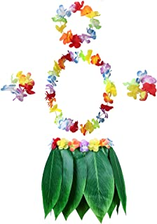 Leaf Hula Skirt and Hawaiian Leis Set Grass Skirt with Artificial Hibiscus Flowers for Hula Costume and Beach Party