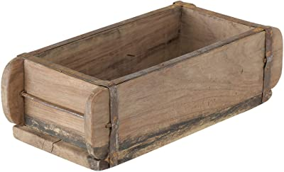 WHW Whole House Worlds Decorative Wooden Box, Rusty Metal with Nail Studs Accent Band, Recycled Brick Forms, Vintage, 12.5 L x 6.0 W x 4.0 H inches, 3.0 lbs