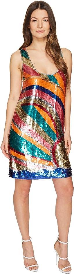 Shimmer Sleeveless Short Swing Dress