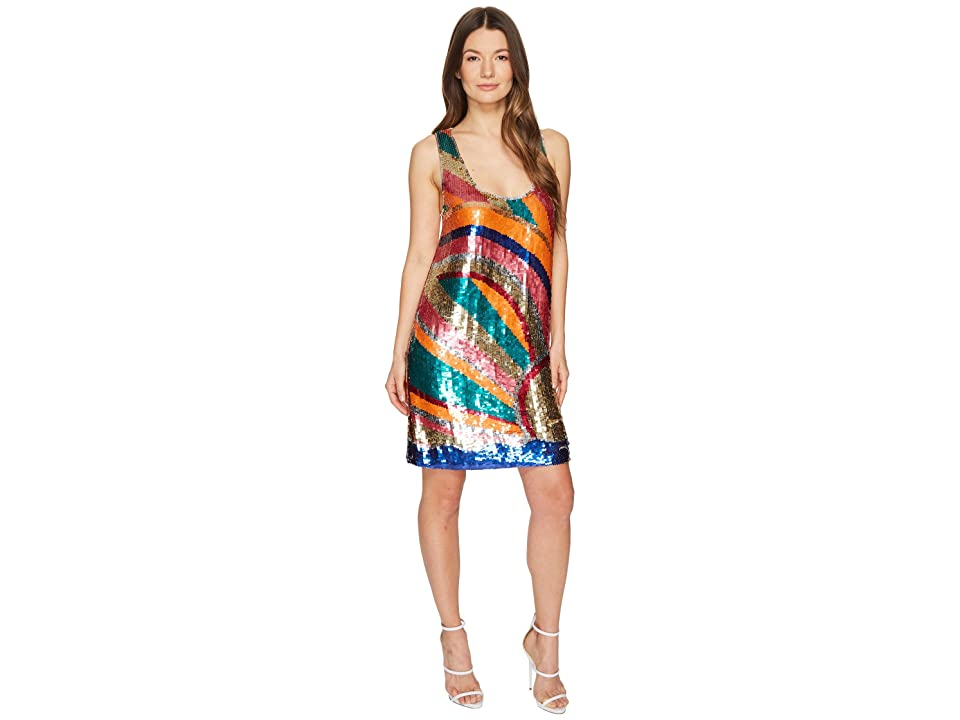 Just Cavalli Shimmer Sleeveless Short Swing Dress (Multicolor) Women