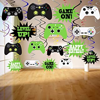Video Game Decorations-48Pcs Video Game Party Decorations Game on Hanging Swirls Video Game Party Supplies