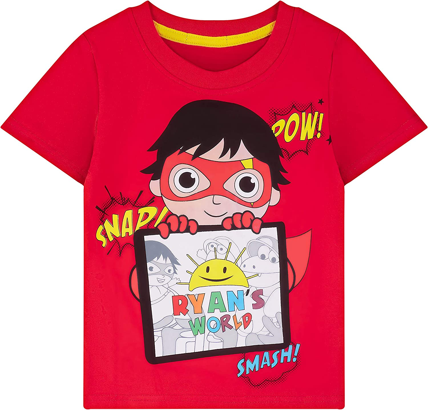 Little Boys T-Shirts Short Sleeve 1 Pack Graphic Tee Red Cartoon 3-8 Y