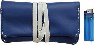 Astuccio porta tabacco custodia grande in vera pelle pregiata e riciclata bicolor col. Blu e Bianco fatto a mano in Italia...