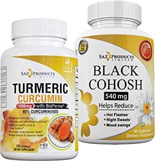 Organic Turmeric Curcumin with BioPerine and Black Cohosh Bundle - Potent Anti-Inflammatory Capsules Combined with a Black...
