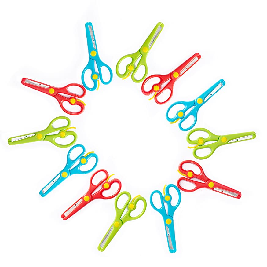 Training Scissors for Kids, Preschool Children Safety Scissors Set - Safe Round Blunt Tip - Perfect for Developing Cutting Skills for Arts & Crafts and School - Assorted Colors - 12-Pack