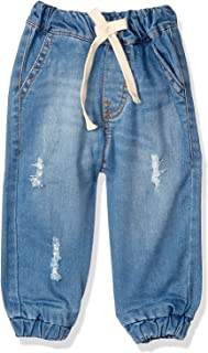 Giggles Drawstring Elastic Waist Scratched Denim Pants For Boys