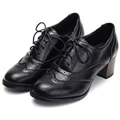 c6f4c94351d88 Lace up chunky heel Oxford - Casual Women's Shoes