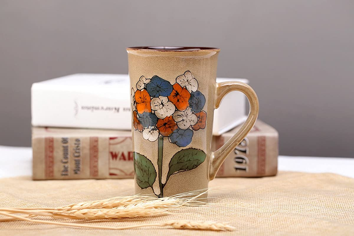 VIRGIN FOREST 16OZ Retro Ceramic Mug Ceramic Coffee Cups Retro Milk Cup Dot Character Cups Mugs For Household Use Yellow