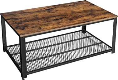 VASAGLE Industrial Coffee Table with Storage Shelf for Living Room, Wood Look Accent Furniture with Metal Frame, Easy Assembl