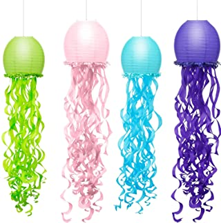 4 Colors Mermaid Wishes Hanging Jellyfish Paper Lanterns 10x36 Inch, ArtStudy Indoor Outdoor Jellyfish Honeycomb Lanterns ...
