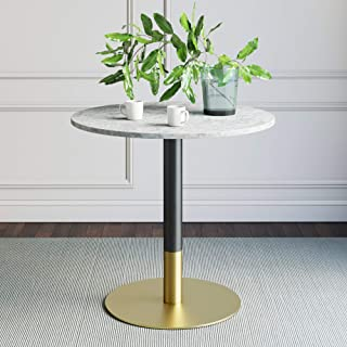 Nathan James 42002 Lucy Small Mid-Century Modern Kitchen or Dining Table with Faux Carrara Marble Top and Brushed Metal Pedestal Base, White/Gold