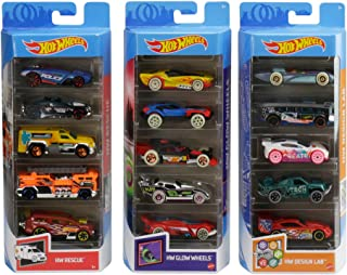 Hot Wheels Variety Fun 5 Pack Bundle of 15 1:64 Scale Vehicles with 3 Themes HW Rescue, HW Glow Wheels & HW Design Lab for...