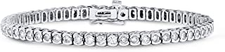 5 Carat Diamond Half Bezel Tennis Bracelet in 14k White Gold