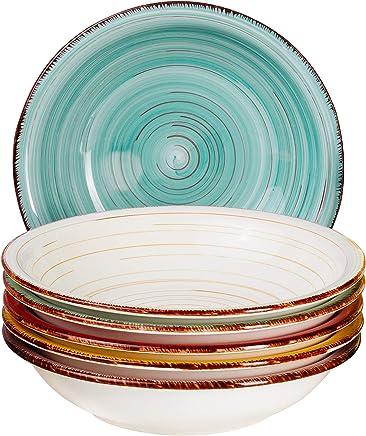 Preisvergleich für MamboCat Teller-Set Rimini für 6 Personen | Suppenteller Tief | 650 ml | Salat-Teller | Runde Servier-Schale | Porzellan-Schüssel | Handbemalt | Mehrfarbig
