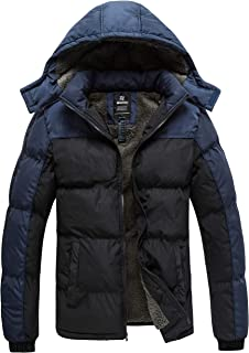 Wantdo Men's Puffer Jacket Thicken Padded Winter Coat with Removable Hood