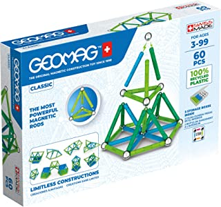 Geomag Classic - 60 Pieces- Magnetic Construction for Children - Green Collection - 100% Recycled Plastic Educational Toys...