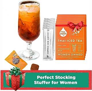 Tea Drops Thai Iced Tea | Authentic Instant Thai Tea Mix | Flavored Black Ice Tea + Condensed Milk Packet | Loose Leaf Tea 5 Pack - Best Flavor
